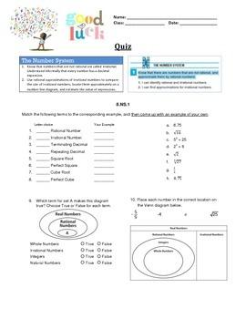 8.NS.A.1 8.NS.A.2 Quiz