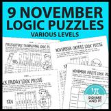 Thanksgiving Logic Puzzles - November - 4 levels