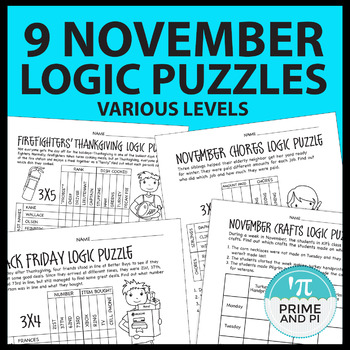 Logic Puzzles Thanksgiving - November - 4 levels