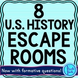 8 Pack Escape Rooms Bundle:Bill of Rights, Revolutionary War, Constitution &more