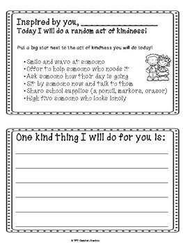 8 Page Kindness Dedication Book- Great for Random Acts of Kindness Week!!