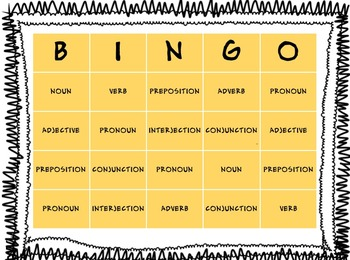 8 Parts of Speech BINGO