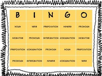 8 Parts of Speech BINGO