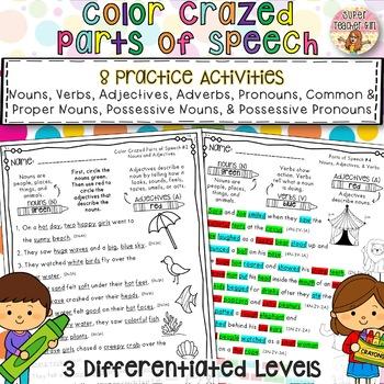 Color Crazed Parts of Speech Grammar Sentences