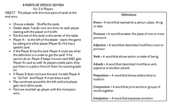 8 Parts of Speech Go Fish Game