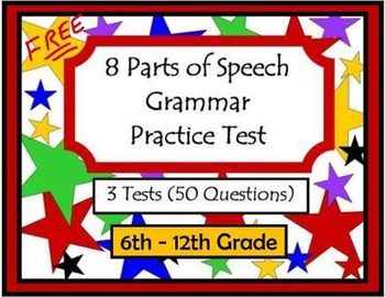 8 Parts of Speech Grammar Practice Test by Vernessa Neu | TpT