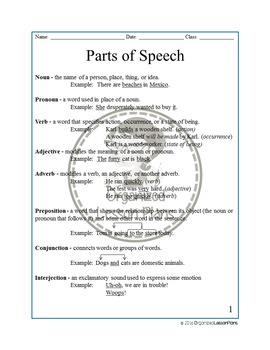 8 Parts of Speech Packet