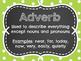 8 Parts of Speech Polka Dot Chalkboard Posters