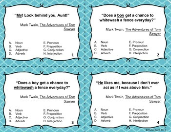 8 Parts of Speech - Task Cards