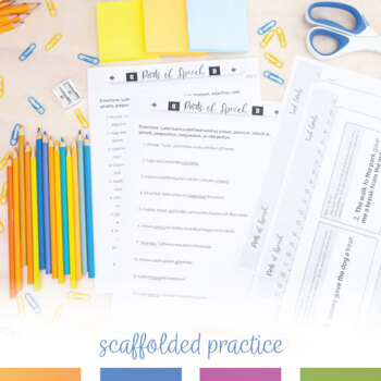 8 Parts of Speech Pre-test, Post-Test, Worksheets, and Task Cards