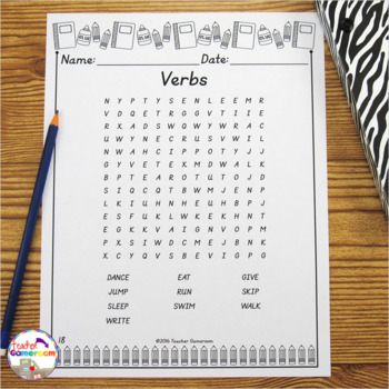8 Parts of Speech Word Searches