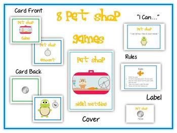 8 Pet Shop Money Matching Games - All Coins - Math Folder Games