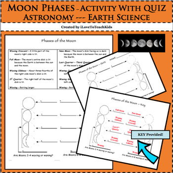 Earth Space Science Astronomy 8 Phases of the Moon Activit