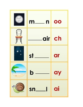 8 Phonogram Game boards or worksheets