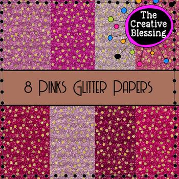8 Pinks Glitter Digital Papers