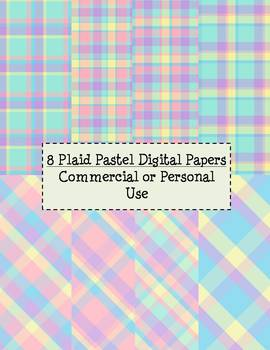 8 Plaid Pastel Digital Papers: Commercial or Personal Use.
