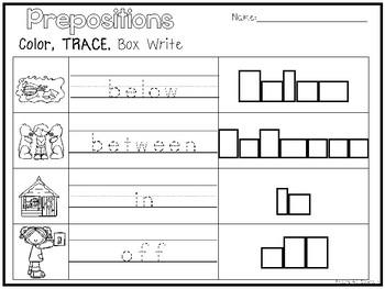 8 Prepositions Color and Writing Worksheets. Kindergarten-1st Grade ELA.