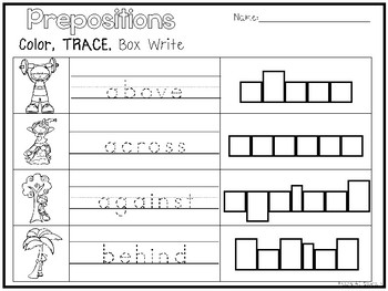 8 Prepositions Color and Writing Worksheets. Kindergarten-1st Grade ELA.