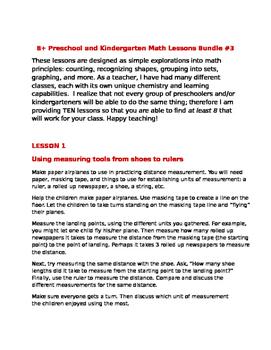 8+ Preschool and Kindergarten Math Lessons Bundle #3