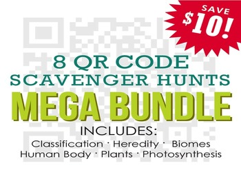 8 Life Science QR Code Scavenger Hunts - Lesson Bundle