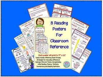 """8 Reading Posters for Classroom Reference   Posters are 17"""" x 22"""" Common Core"""