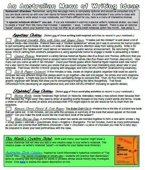 8 Restaurant-Themed Writing Choice Menus -- For Writer's Notebooks & Journals