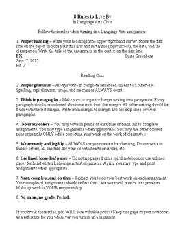 8 Rules to Live By in Language Arts Class