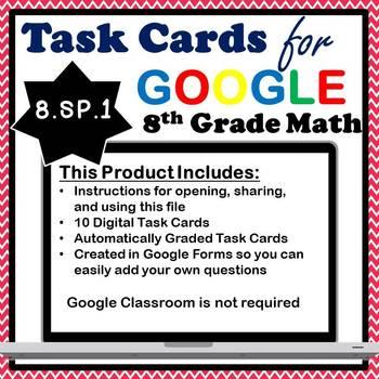 8.SP.1 Digital Task Cards, Interpreting Scatterplots Google Task Cards