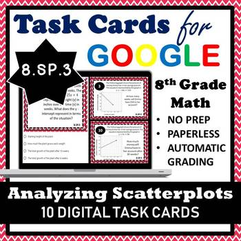8.SP.3 Digital Task Cards, Anaylzing Scatterplots: Equation of a Linear Model