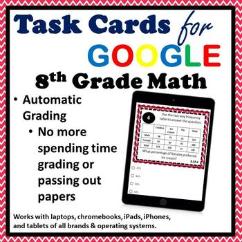 8.SP.4 Digital Task Cards, Two Way Frequency Tables Google Task Cards