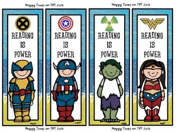 8 SUPER HERO Melonheadz theme BOOKMARKS (Hulk, Batman, Superman)