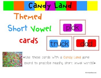 8 Sets of Candy Land Cards for Board Game (Common Core Aligned)