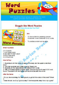 'WORD PUZZLES' - Eight Short Vowel 'Boggle' Like Word Games