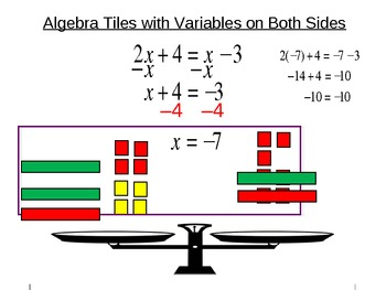 8) Solving Equations w/Variables on Both Sides: Algebra Tiles & more (PPT)