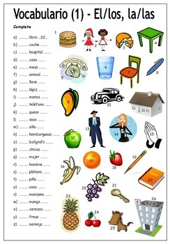 8 Spanish Vocabulary Worksheets - Hojas de vocabulario (NO PREP)