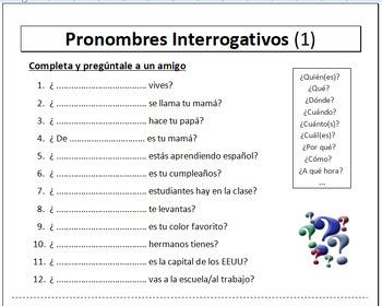 8 Spanish Vocabulary Worksheets - Hojas de vocabulario (NO PREP)