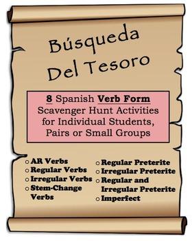 8 Spanish Verb Form Scavenger/Treasure Hunt Activities