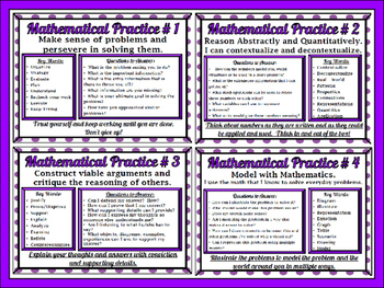 8 Standards for Mathematical Practices Posters - Secondary Lvl. Purple Polka Dot