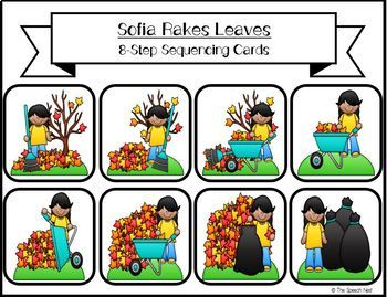 8-Step Fall Sequencing & Storytelling Activity Includes Homework Practice Sheets