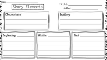 Story Elements Graphic Organizers / Characters, Setting, Events, Plot, etc.