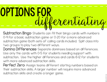8 Subtraction Games for Partners, Small Groups and Whole Group