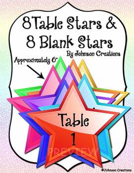 8 Table Stars & 8 Blank Stars
