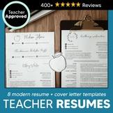 8 Teacher Resume Template + Cover Letter Templates for Educators