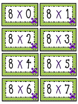 """""""8"""" Times Table Flash Cards"""