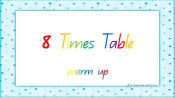 8 Times Table Warm Up ACARA C2C Common Core aligned PowerPoint