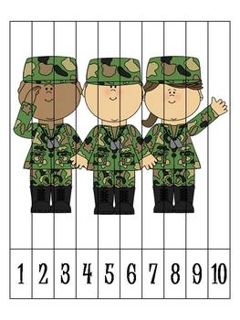 8 Veteran's Day Number Order Puzzles  {FREEBIE}