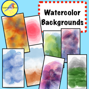8 WaterColor Backgrounds for Personal or Commercial Use