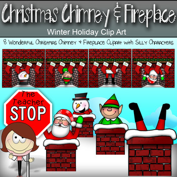 Christmas Chimney & Fireplace Clip art