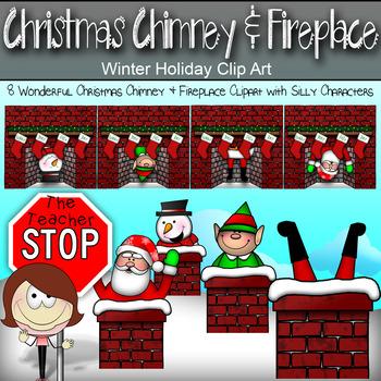 Christmas Chimney & Fireplace Clip art