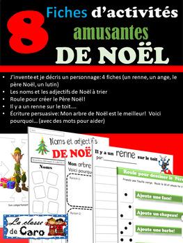8 fiches d'activités amusantes de Noël- fiches imprimable